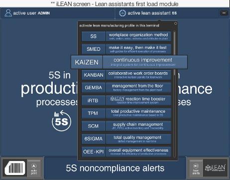iLEAN screen - Lean assistants first load module
